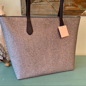 NWT! Kate Spade Navy Gray Glitter Tote